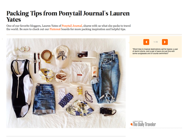 CONDÉ NAST TRAVELLER / PACKING TIPS BY PONYTAIL JOURNAL