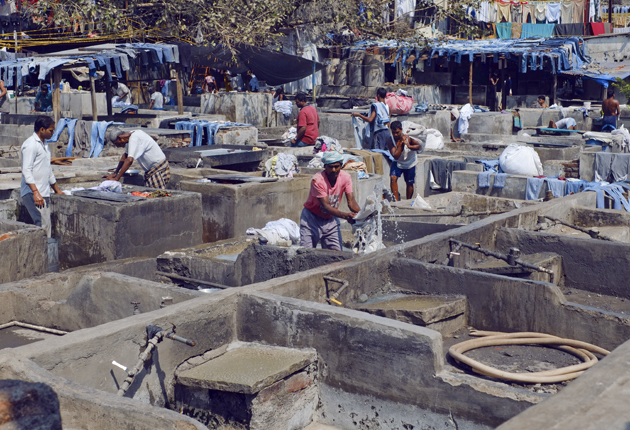 FADES OF THE DAY AT MUMBAI'S DHOBI GHAT OPEN AIR LAUNDRIES