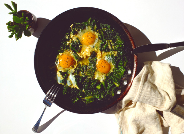 MADRAS CURRIED KALE WITH RUNNY EGGS.