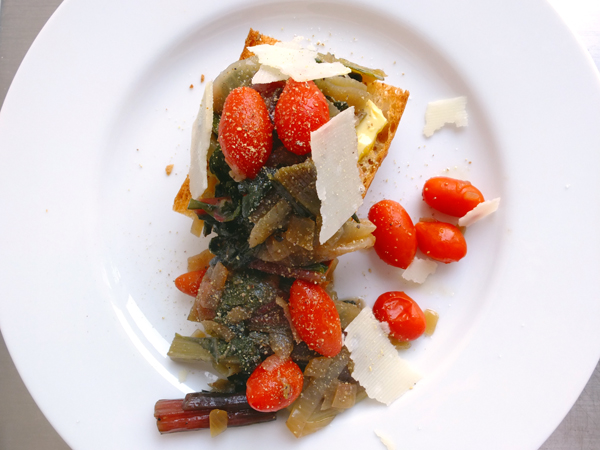 WINTER-Y STEWED CHARD ON TOAST
